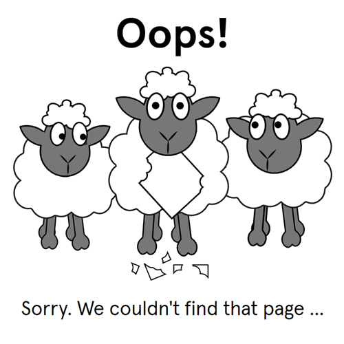 Sheep 404 page for The Book People